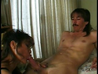 Fuck a hot asian milf Hot asian milf gets on her knees and gives young dude a great sex