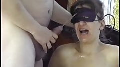 blindfolded wife pisses with friends