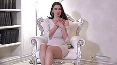Gorgeous hairy Marcia Di in white dress