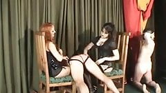 Spanked, strapped and caned by 2 hot mistresses