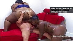 2 black bbws fuck one white boy, hard fuck