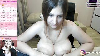 Alexa puts big tits and areolas on the table dildos them