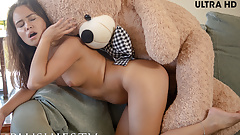 Petite Alaskan teen girl Jenny Ferri sex with teddy bear