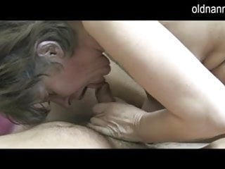 Young nanny fucked - Old nanny: young guy licking old hairy pussy of grandma