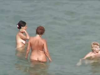 Naked women modles in public - Three women naked at nudist beach