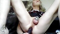 Sissy in tiny chastity on BBC dildo