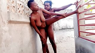 Ebony girl fucked outside home and getting cum on her breasts