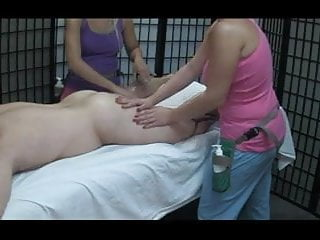 Two women strip boy spank - Two women massage and jerk a young man wf