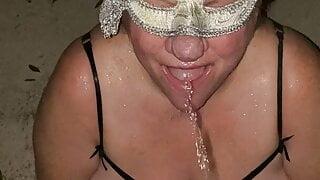 BBW wife drinking pee