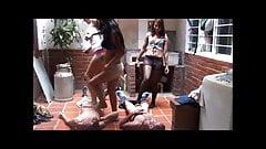 3 latina girls trample nuts of 2 guys