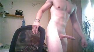 whatching my big white dick growing