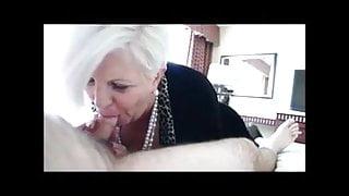 Elegant granny sucks dick and gets cum in mouth in cfnm