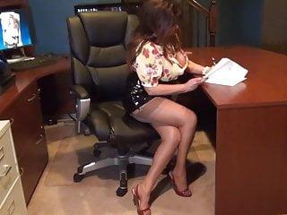 Pvc handjob - Secretary in black pvc mini skirt blowjob and fuck