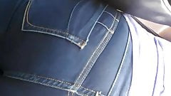 Thick phat ass tight navy blue jeans