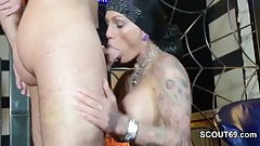 German Tattoo MILF Kitty Core in Privat Gangbang with 8 Man
