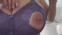 Mature Milf Huge Natural Tits Purple Nurse Bra