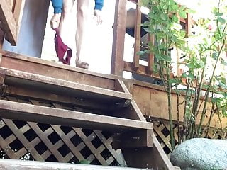 Exposing pussy on stairs Pissing on stairs outdoors