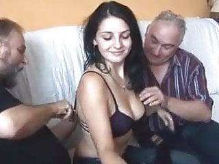 Old men pleasuring girls porn Five old men and young girl