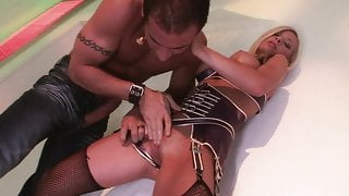 Blonde with massive augmented breasts shows brunette friend how to ride cock pro