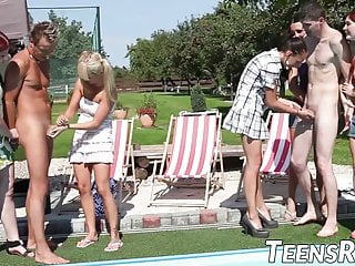 See them clothed then naked - Petite teens tease naked guy at the pool before fucking them