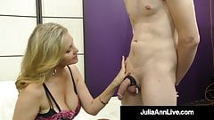 Dominating Milf Julia Ann Plays With Cock In Pantyhosed Feet