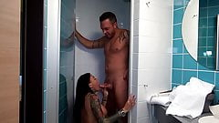 German teen gets fucked in the shower. Cum in mouth