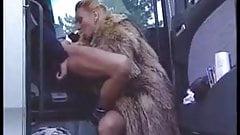 Blonde Milf in Fur Coat Sucks Off Trucker