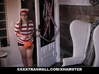 Witch costume fucked - Exxxtrasmall - cute pigtailed ginger fucks a huge costumed