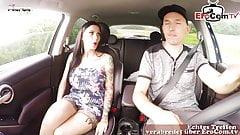 German hitchhiker amateur teen bitch get creampie in car