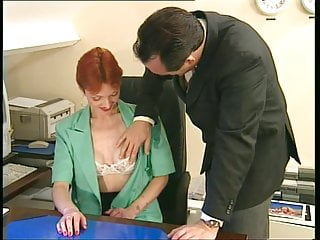 Sexy woman sexretary older boss Redheaded older secretary sucks bosss cock at her desk