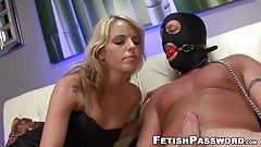 Foot fetish dominatrix works on gagged subs huge cock