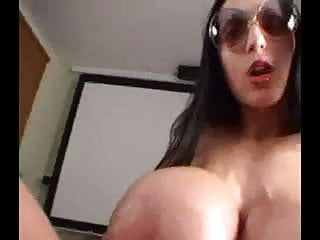 Huge ladies tits Huge tit lady fucks plays with cock for cum
