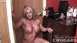 naked, masturbating her big 2-inch clit