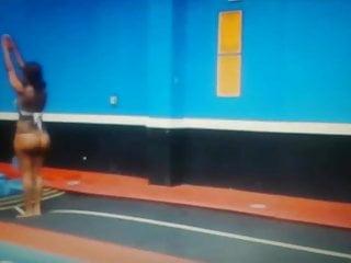 Ebony busty sports Redbone ebony doing backflips in string blue thongs