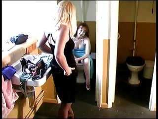 Sluts pissing in public British sluts pissing in a pub toilet. blonde one farts too