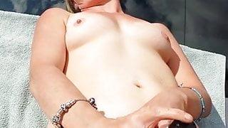 Sexy wife on car bonit