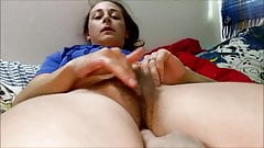 Pleasuring herself so i started fingering her hairy pussy