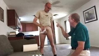 Clothed grandpa on his knees sucking daddy's cock