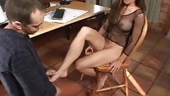 Under Table Toe Licking Turns Into A Footjob
