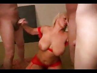A lot of tits - Busty mature enjoys gangbang and a lot of facials