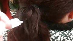 Sperm cum on hair part 2
