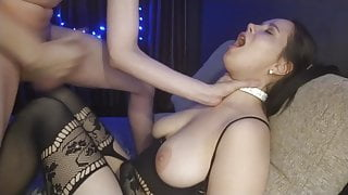 Bad guy puts his cock in girl's mouth and cums there