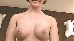 Randy blonde in black stockings  strip-teases on cam