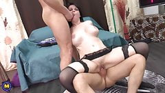 Busty mature takes big cock in ALL her holes
