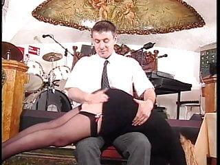 Plump milfs in nylons heels Guy spanks blondes plump behind