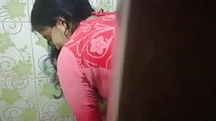 Mallu wife dress change when she is in  the bathroom