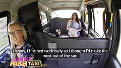 Female Fake Taxi Horny tarts use cucumber to stretch pussy