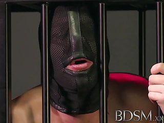 Xxx slut slaves Bdsm xxx slave boy licks mistresses spit from the cage floor