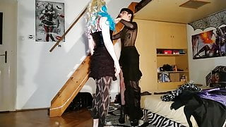Goth dominatrix feminizes her cd sissy slave with women's clothes pt2