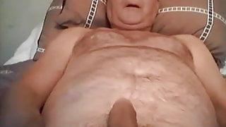Granddad stroking and cumming